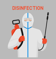 Doctor in protective suit with disinfection vector