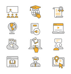e-learning distance education flat line icons vector image
