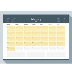 February 2016 Monthly Calendar Planner for 2016 vector image