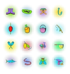 Fishing icons set comics style vector