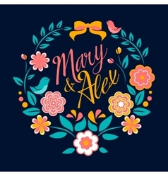 Flower wedding invitation card Mary and Alex vector image