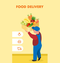food delivery service website poster template vector image