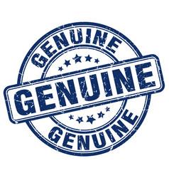 Genuine blue grunge round vintage rubber stamp vector