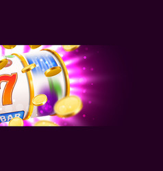 golden slot machine with flying golden coins wins vector image
