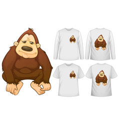 Gorilla and four designs on white shirts vector