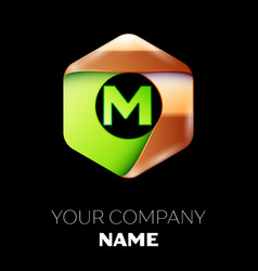 green letter m logo in the golden-green hexagonal vector image