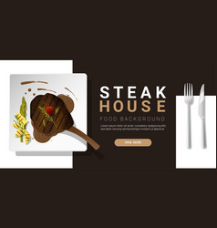Grilled beef tomahawk steak and spices background vector