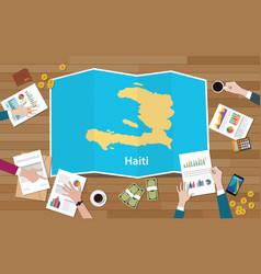 Haiti economy country growth nation team discuss vector