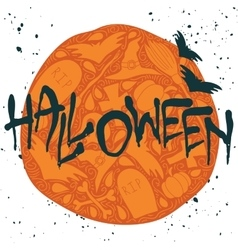 Halloween poster with black handwritten lettering vector image