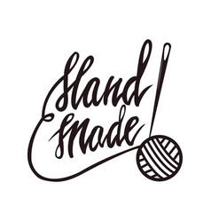 Handmade tailors service monochrome promo emblem vector