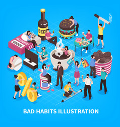Harmful habits isometric vector