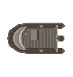 inflatable boat flat icon top view isolated vector image