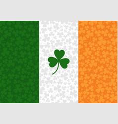 ireland flag with shamrock vector image