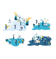Isometric business concepts recruiting vector