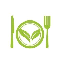 Leaf cutlery healthy food icon graphic vector