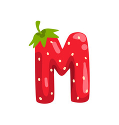 Letter m english alphabet made from ripe fresh vector