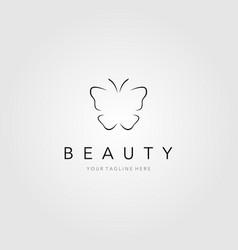line art butterfly logo label badge design vector image