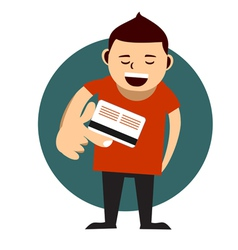 man paying with his credit card vector image