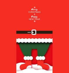 Merry christmas greetings card with santa felt vector