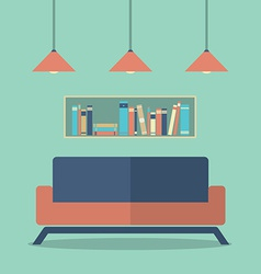 Modern Design Interior Sofa And Bookshelves vector image