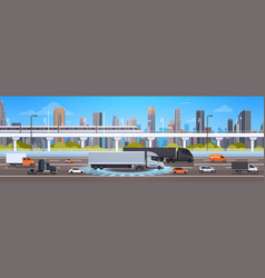 Modern highway road with cars lorry and cargo vector