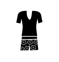 Monochrome silhouette of female t-shirt and vector