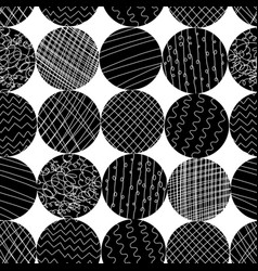 monochrome textured circle shapes seamless vector image