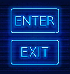 Neon signs enter and exit vector