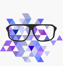 nerd glasses on grey background with triangle flat vector image