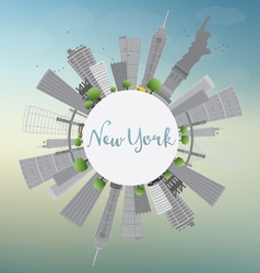 New York Skyline with Gray Buildings vector