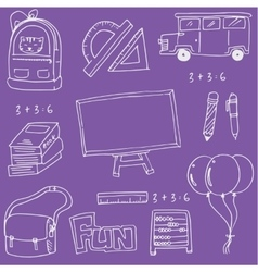 On purple backgrounds school education doodles vector