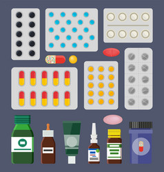 pills packss and liquid medical means in bottles vector image