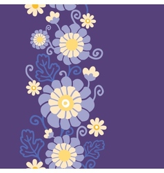 Purple flowers and leaves vertical seamless vector