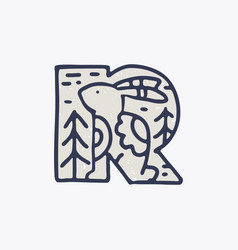 R letter logo with a hare in nordic folk art vector