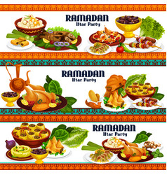 Ramadan iftar dishes drinks and desserts vector