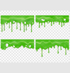 Realistic dripping slime seamless green stain of vector