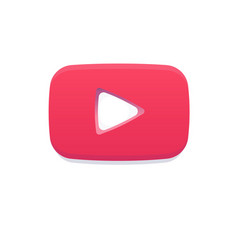 Red play flat logo youtube notification icon like vector