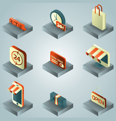 retail color gradient isometric icons vector image