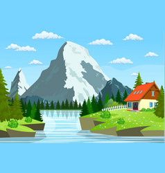 River flowing through the rocky hills vector