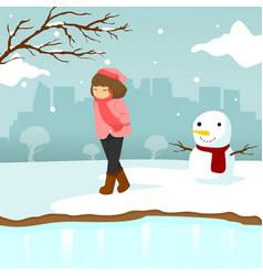 Sad lonely girl winter season scene graphic design vector