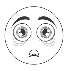 scared face emoticon icon vector image
