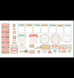 scrapbook stickers or planner calendar and check vector image
