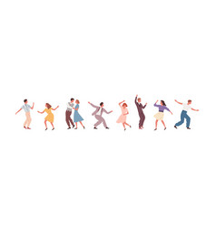 Set man woman and pair performing lindy hop or vector