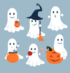 Set of ghosts for halloween design vector