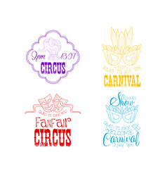 Set of hand drawn circus or carnival signs vector