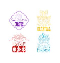 set of hand drawn circus or carnival signs vector image
