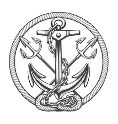 Ship anchor with tridents and ropes engraving vector