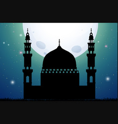 silhouette mosque at night time vector image