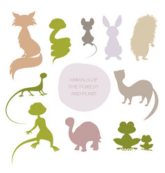 Silhouettes of animals of the forest and pond vector