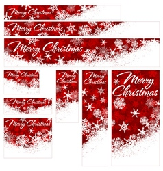 Snowflakes Christmas Web Banners RED vector